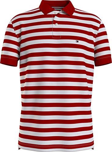 Tommy Hilfiger Stripe Regular Polo, Rosso Primario/Bianco, L Uomo