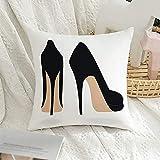 Funda decorativa para almohada cuadrada, elegante, elegante, de tacón, zapatos elegantes, glamour en la espalda, calzado de belleza, par de objetos de moda, bonita funda de almohada para sofá, decora