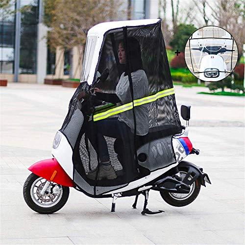 Fundas para motos Cubierta impermeable a la lluvia para scooter, cubierta de parasol de motocicleta eléctrica, cubierta de paraguas con dosel de batería para automóvil + bisel frontal transparente +