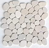 Interlocking Pebble Floor Tiles (10-Sheets) Kitchen, Bathroom, and Patio Flooring | Indoor and Outdoor Use | Natural Auburn Tan Stones | Quick and Easy Grout Installation