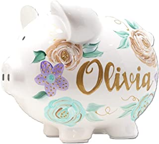 Personalized Ceramic Piggy Bank for Girls - Hand Painted Large Piggy Bank with Flowers Unique Baby Gift for Girls