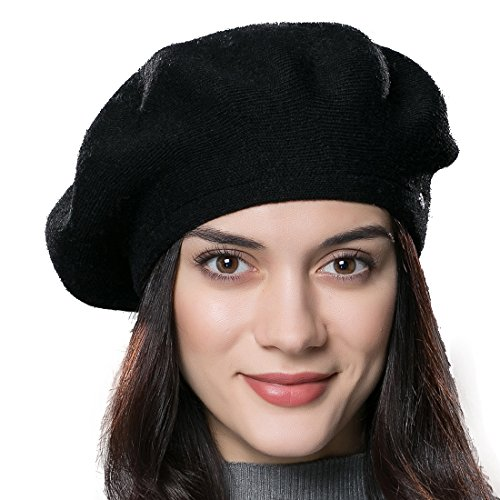 URSFUR Frauen Weiche Baumwoll Mütze Hochwertige Strickmütze Kappen Beanies-schwarz