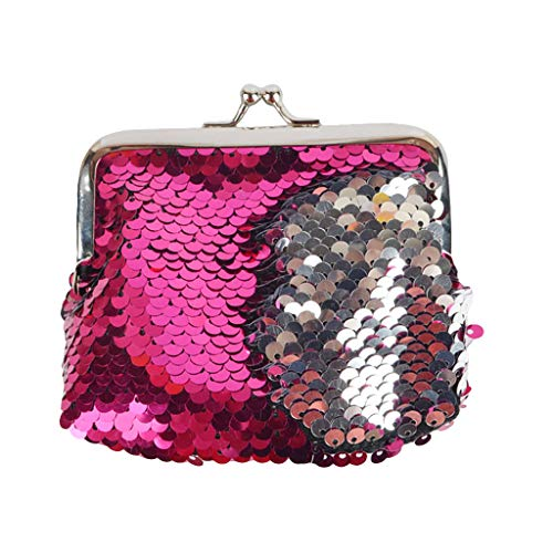 Clearance!!! squarex Kid Girl Mermaid Sequin Coin Purse Mini Wallet Small Bag Travl Dayback (Hot pink)