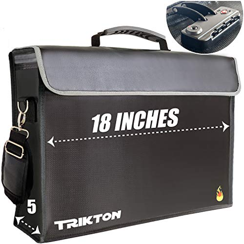 TRIKTON Super Extra Large 18x13x5 Fireproof Document Safe Bag with TSA-Lock, Holds Legal Size Files Without Bending, XXL Black, Visible in The Dark, as Fireproof Document Box, Fire and Water Resistant