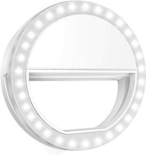 最新版 AMIR 自撮りライト クリップ式自撮りリングライト セルカライト 明るさと角度調節でき 軽量で持ち運び便利 明るさ3段階調節でき いかなるスマートフォンカメラ通用でき 瞳に写る 夜間 撮影 照明 36灯 SELFIE (電池式) CW...