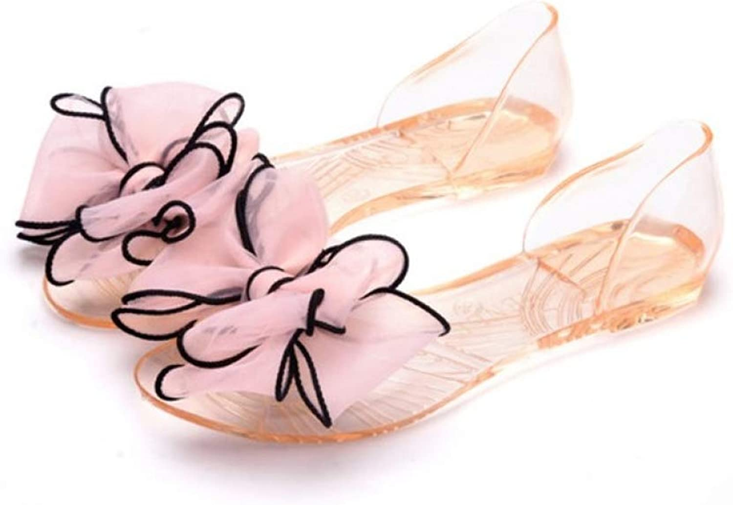 Women Open Toe Jelly Sandals Butterfly-Knot Slip On Transparent Casual Cover Heel Summer Flats shoes