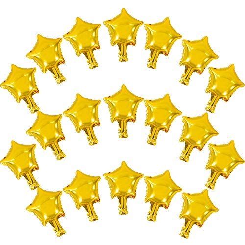 100 Pcs 5'' Gold Star Shaped Balloons Foil Balloons Mylar Balloons for Baby Shower, Gender Reveal, Wedding, Birthday or Engagement Party Decoration (Gold)