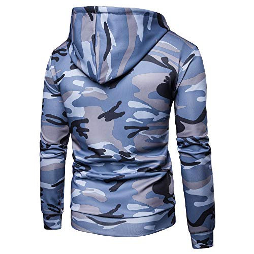 PRJN Fashion Men's Autumn Winter Patchwork Pocket Camouflage Long Sleeve Hoodie Top Blouse Mens Camouflage Tracksuit Jogging Bottoms Hoodie Top Men's Casual Camouflage Hooded Jacket