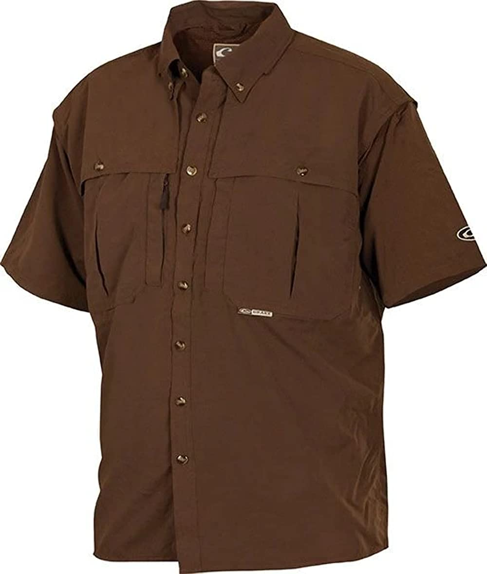 Casual Shirt Short Sleeve (Olive, Small)