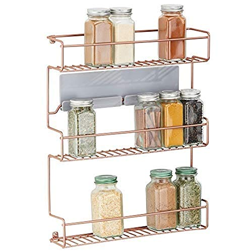 Wall Mounted Spice Rack ? Pantry Shelving for Spices, Flavourings and Seasonings ? Self-Adhesive Kitchen Storage Shelf (Copper)