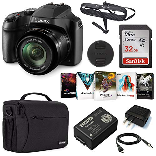 Panasonic Lumix DC-FZ80 4K Digital Camera, 18.1 Megapixel, 60x Zoom 20-1200mm Lens Bundle with Bag, 32GB SD Card, Corel PC Photo Editing Software Kit