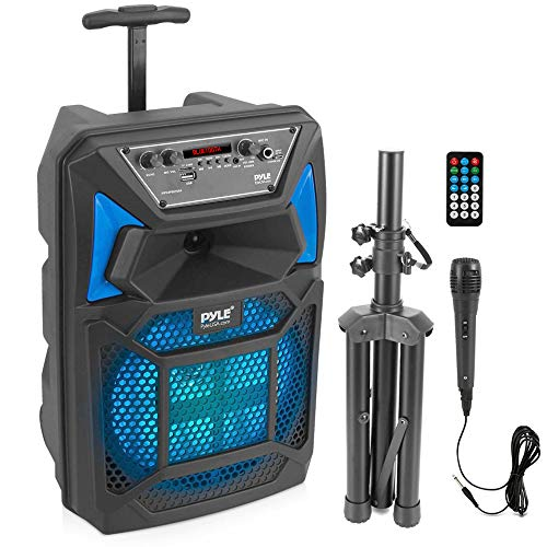 Portable Bluetooth PA Speaker System - 400W Outdoor Bluetooth Speaker Portable PA System w/Microphone in, Party Lights, MP3/USB SD Card Reader, FM Radio, Rolling Wheels - Mic, Remote - Pyle PPHP82SM