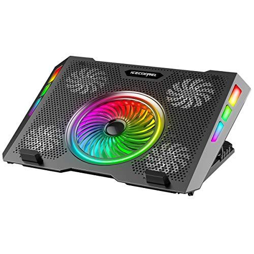 ICE COOREL Base di Raffreddamento PC Portatili, Dispositivo Raffreddamento PC Portatile con Illuminazione RGB per Laptop 11-15.7 , 5 Ventole a Forte Flusso d Aria, 5 Regolabile in Altezza