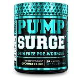 PUMPSURGE Caffeine Free Pump & Nootropic Pre Workout Supplement - Non Stimulant Preworkout Powder & Nitric Oxide Booster - 20 Servings, Cucumber Lime