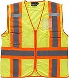 Work Team Chaleco Alta Visibilidad, Multibolsillos, Cintas Reflectantes bicolores Verticales y horizontales. Hombre Amarillo L