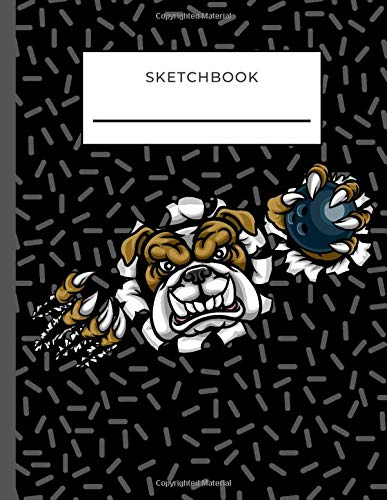 Sketchbook: Angry Bulldog with Bowling Ball on Black Cover / Unruled Unlined Paper / 8.5x11 Inches, Notebook Size / Design Book / Great Gift for Creatives, Artists and People Who Love To Draw