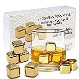 10 x goldene Whiskysteine aus Edelstahl Ice Cube Chilling Stone Rocks, wiederverwendbare Metalleiswürfel für Whisky, Wein & Gin & Tonic Drinks von FLOW Barware (Gold)