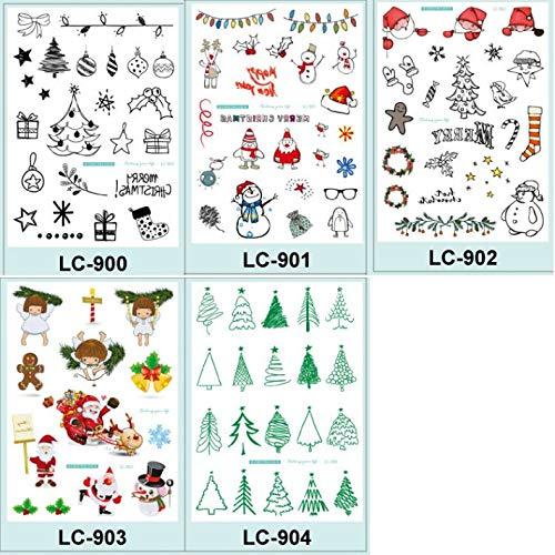 GRASHINE Vrolijke Kerstmis nep tatoeages die kijken echte 5 stks tattoo stickers in een pakket, het met inbegrip van sneeuwpop, geschenken, kerstboom, sokken, Kerstman, engelen, snoep, bel, hoed, herten, sneeuwvlokken, kaarsen, enz.