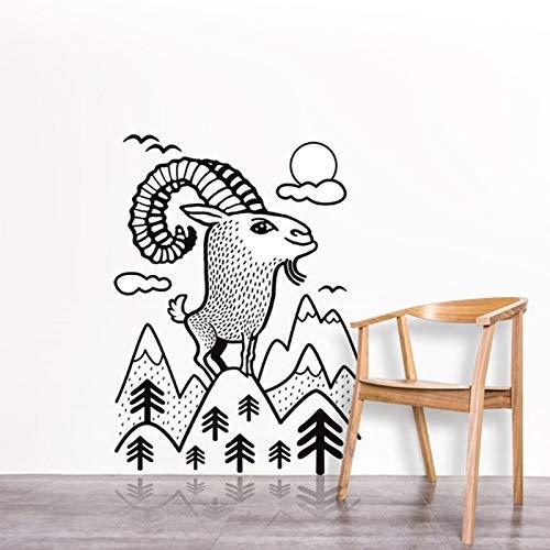 Etiqueta De La Pared Arte De La Pared Un Buen Trabajo Etiqueta Engomada Linda De La Pared Del Vinilo De La Cabra Árbol Con La Pared De La Pared De La Nube Mural 42X57Cm