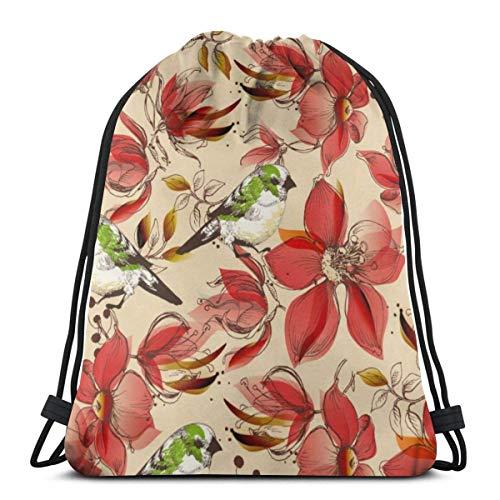 Lsjuee Patrón de Flores Rojas y Lindo Estampado de pájaros Mochila de Hombro Mochila con cordón Bolsa Plegable de Nailon para la Escuela Viajes en casa Deporte