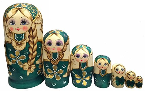 King&Light 7pcs Green Sweater Girl Russian Nesting Dolls Matryoshka toys by K&L