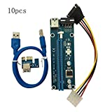 IBISHITAOXUNBAIHUOD 10PCS / Set PCI-E PCI Express 1X a 16X Riser Card Cable USB 3.0 SATA a 4Pin IDE Cable de alimentación Molex Power para BTC Miner Machine