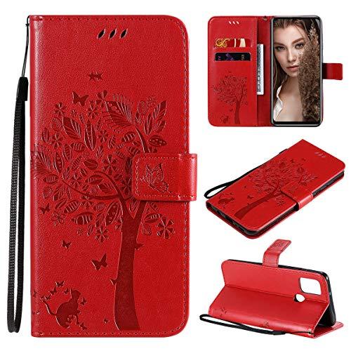 Funda para Samsung Galaxy A21s para teléfono Samsung Galaxy A21s con ranuras para tarjetas, cierre magnético, protección completa, cuero de primera calidad con tapa (Samsung Galaxy A21s-Rojo)