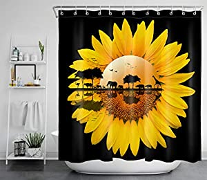 LB Sunflower Floral Shower Curtain Tropical Wildlife Animal Giraffes Elephants Sunset Shower Curtain Set Yellow Flower Black Bathroom Curtain with Hooks,70x70Inch Waterproof Fabric