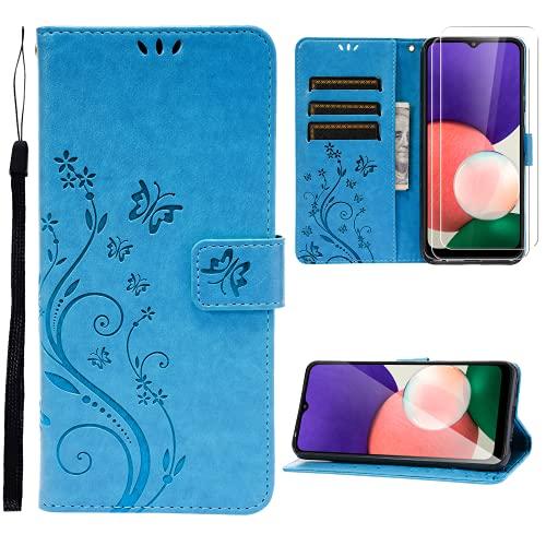 Ikziwreo Funda para Samsung Galaxy A22 5G, Piel sintética con 2 Protectores de Pantalla de Cristal Templado, Ranuras para Tarjetas, función Atril, Cierre magnético (Azul)