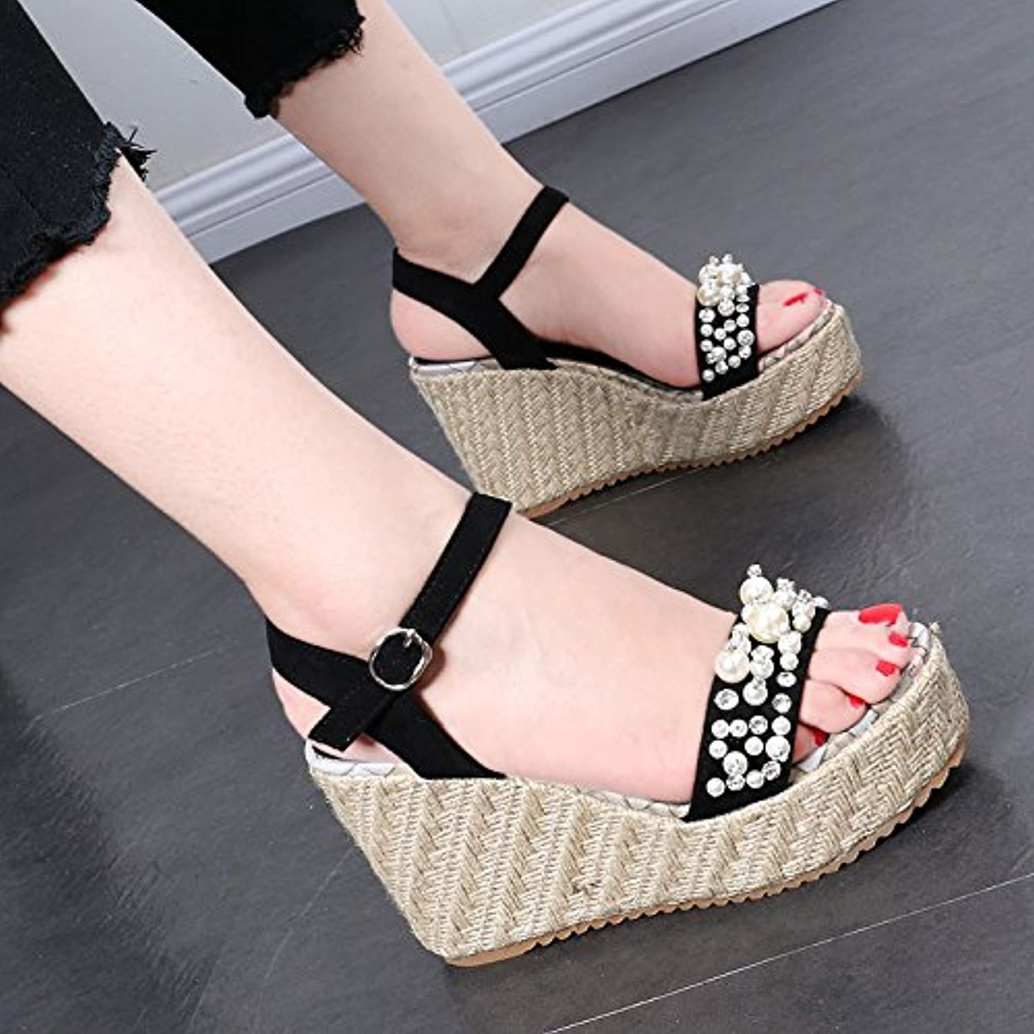 GTVERNH-Korean rattan wedge sandals, summer chunky pearl package buckle toe root word Rome shoes