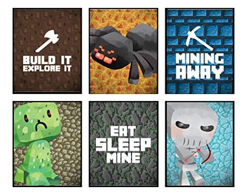 Pixel Miners Room Wall Art Prints Decor (Mining Away)