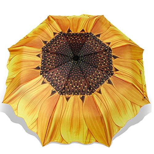 Mangetal Umbrella Windproof, Travel Umbrella Sturdy Portable Umbrella Golf Umbrella Sun&Rain Umbrella Compact Umbrella for Women Men Kids Sunflower Pattern (Yellow)