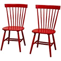 Target Marketing Systems Venice Set Of 2 Dining Chairs (Red)