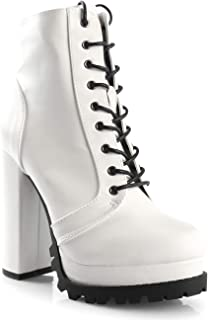 LUSTHAVE Women's Gloria Lug Sole Platform Chunky Lace up Ankle Bootie with Eyelets High Heel Boots