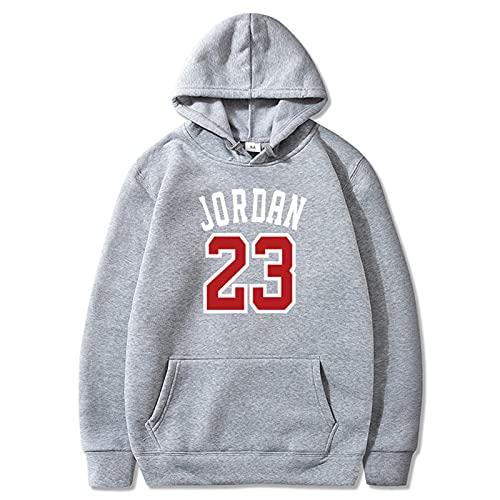 23 # Jordan Basketball Unisex Hoodie, Loose Long Sleeve Pullover Sweatshirt Color sólido Casual Chaqueta impresa letra y número (S-3XL) gris claro-XXL
