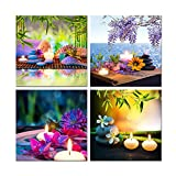 Hello Artwork Canvas Prints Zen Art Wall Decor Spa Massage Treatment Painting Picture Orchid Flower Frangipani Bamboo Flaming Candle Print On Canvas 4 Panel Ready to Hang 12''x12''x4pcs