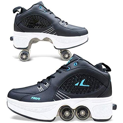 Kids Wheel Sneakers Roller Sportschoenen Dubbele Rij Wielen 2 in 1 Vervorming Schoenen Rolschaatsen Schoenen Meisjes Jongens Wiel Schoenen
