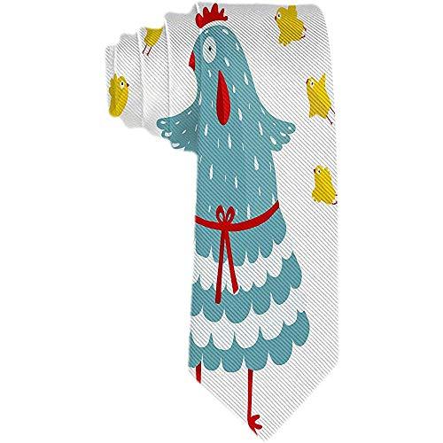 Mens Animals Pattern Necktie Klassische Krawatte Woven Jacquard Funny Mom Hen und ihr gelbes Huhn Krawatten