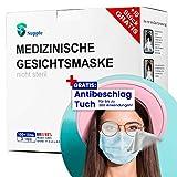 Supple by Demel Augenoptik AKTION: 100 Stück OP - Mundschutz + Anti-Fog Brillenputztuch GRATIS – TYP IIR CE Zertifiziert – Einweg Mundbedeckung