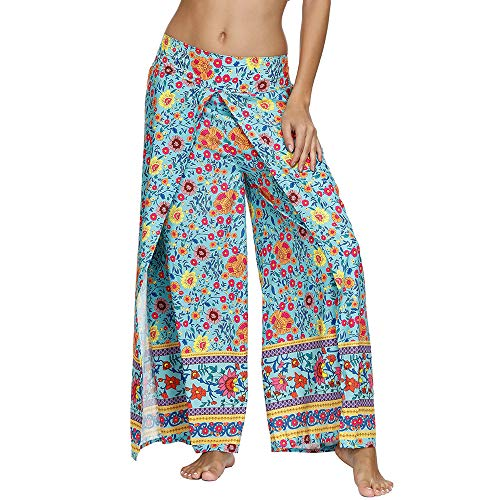 Nuofengkudu Damskie spodnie do jogi z szeroką nogawką z wzorem boho hippisowskim workowate spodnie