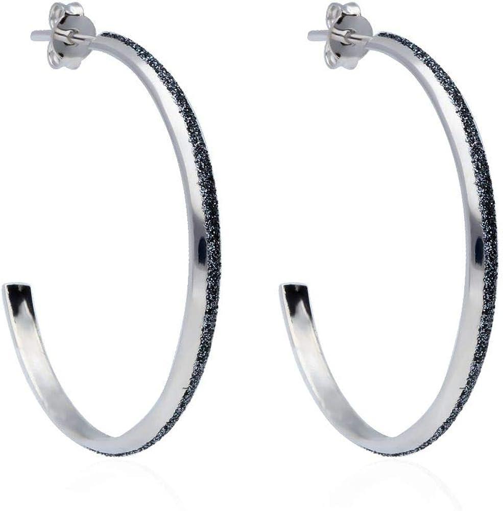 Stroili orecchini per donna a cerchio in ottone rodiato e glitter antracite 1666010