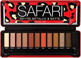 BYS 12 Shade Safari Eyeshadow Metallic and Matte Palette Tin Collection with Mirror, Double Ended Applicator and Blender