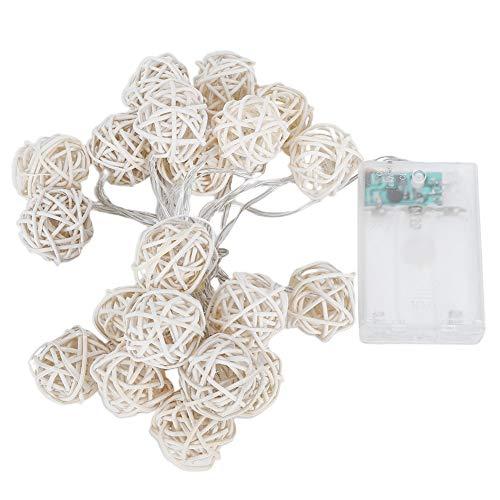 YanyanDz Cadena de Luces LED con Pilas 3. 1M 20 Bolas de Ratán Globo Decoración de Navidad Luz Interior de Hadas Luces Decorativas para La Decoración del Patio del Dormitorio (