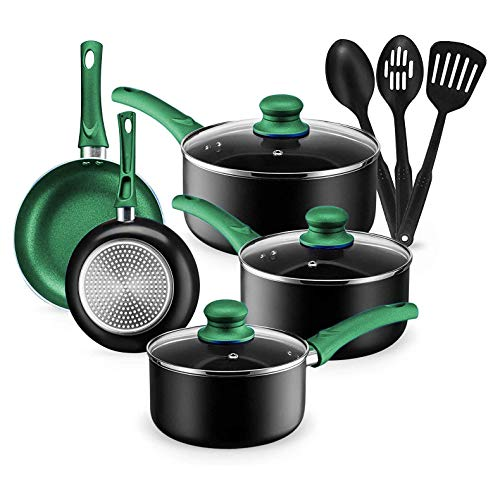 Kitchen Cookware Set, 11 Piece Pots and Pans Set for Cooking Nonstick, Dishwasher Safe Cooking Utensils Set by Chef's Star (Green)