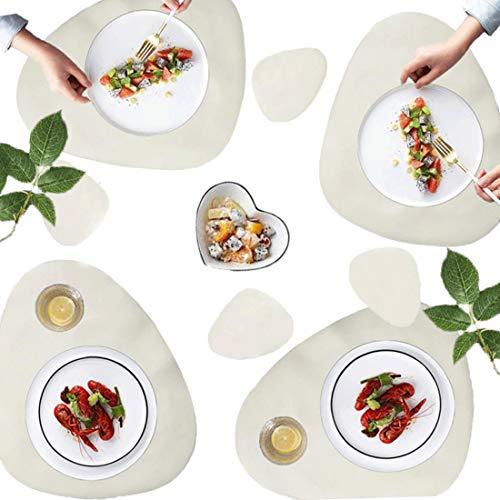 AMRTA Tischsets 4er Untersetzer 4er Lederoptik Set Groß 45×36.8cm Wassertropfen Abwischbar Platzsets Wasserdicht ölbeständig Rutschfestes Hitzebeständiges Weiß …