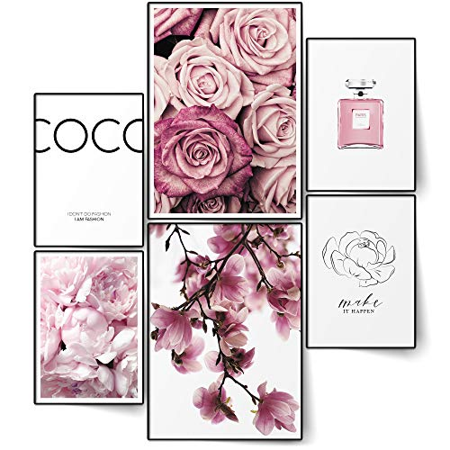 BLCKART Infinity Premium Poster Set Coco Edle Doppelseitige Magnolien Rosen Bilder Home Deko   2X A3   4X A4   ohne Rahmen (Coco FLORAL Rose PINK   6er, Ohne Rahmen)