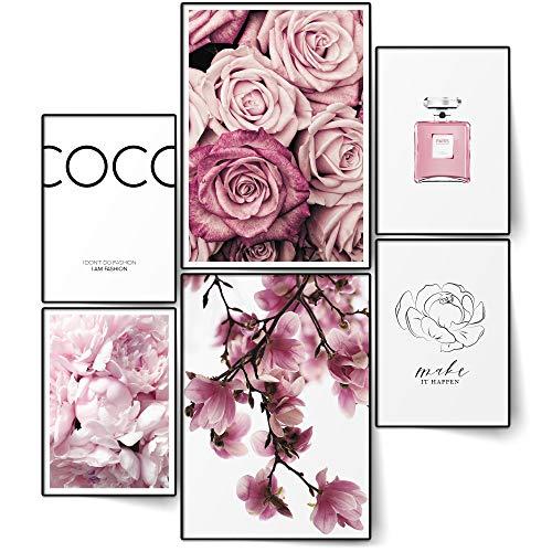 BLCKART Infinity Premium Poster Set Coco Edle Doppelseitige Poster Home Deko | 2X A3 | 4X A4 | ohne Rahmen (Coco FLORAL Rose PINK | 6er, Ohne Rahmen)