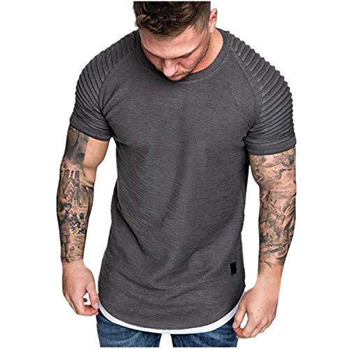 MEIbax Sport Shirt Männer Slim Fit Casual Tops Sommer Kurzarm T-Shirt Falten Rundhals Zipper Bluse Sweatshirts Sportbekleidung (M, Grau-1)