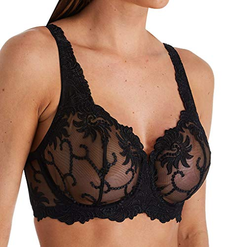 Lunaire Women's Sevilla Embroidered Semi Demi Underwire Bra (44DD, Black)