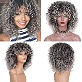 JINLILE Femme Curly Mix Perruque De Cheveux Gris Avec SynthéTique Nouvelle ArrivéE Perruques Pas Cher Naturelle Courte Lisse BoucléE La Mode De Cheveux